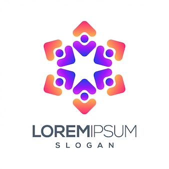Design de logotipo de cor gradiente de pessoas