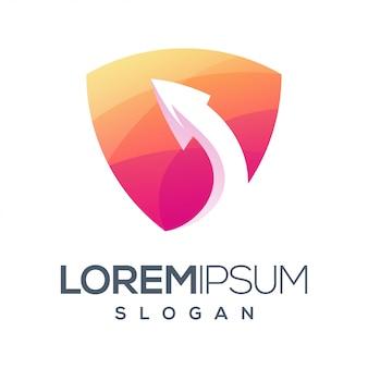 Design de logotipo de cor gradiente de seta