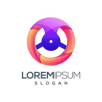 Design de logotipo de cor gradiente de volante