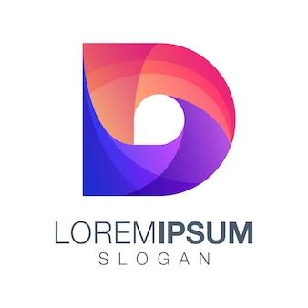 Design de logotipo de cor gradiente letra d