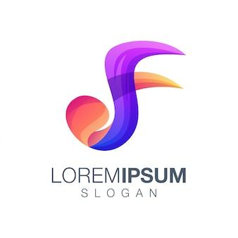 Design de logotipo de cor gradiente letra f