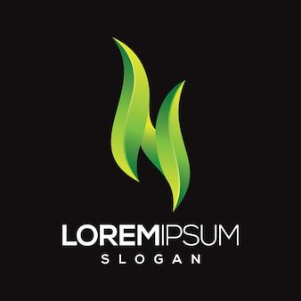 Design de logotipo de cor gradiente letra n