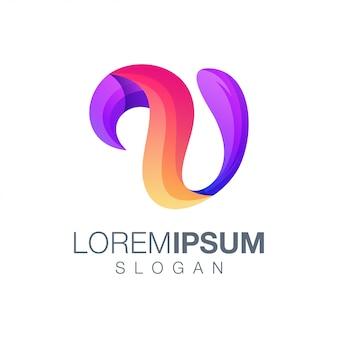 Design de logotipo de cor gradiente letra u