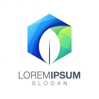 Design de logotipo de cor hexágono de folha