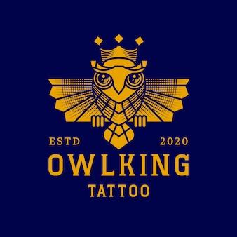 Design de logotipo de cor única rei coruja