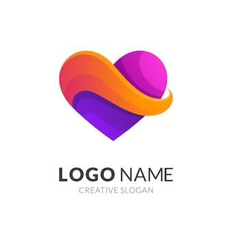 Design de logotipo de coração abstrato colorido, modelo de ícone de amor