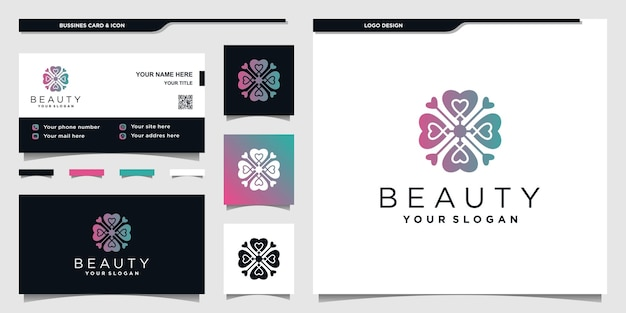Design de logotipo de coração abstrato com cores gradientes exclusivas e design de cartão de negócios