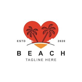 Design de logotipo de coração de amor de praia