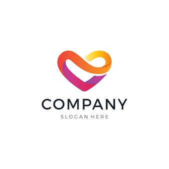Design de logotipo de coração de amor