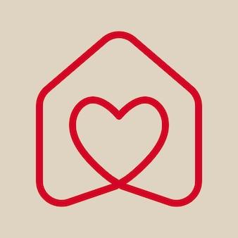 Design de logotipo de coração, estilo minimalista de vetor