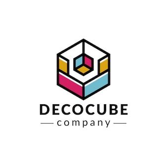 Design de logotipo de cores de cubo deco
