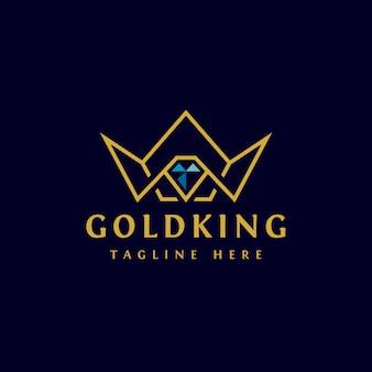Design de logotipo de coroa dourada