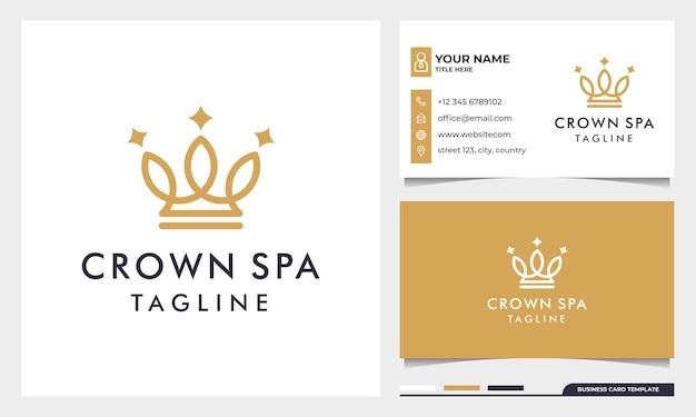 Design de logotipo de coroas em ouro real com estilo de arte de linha e modelo de cartão de visita