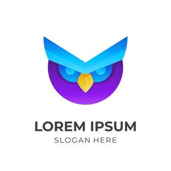 Design de logotipo de coruja com estilo 3d colorido