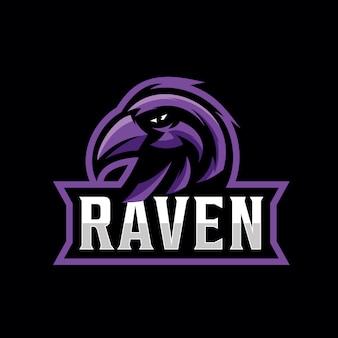 Design de logotipo de corvo para esporte de jogos