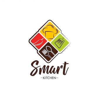 Design de logotipo de cozinha inteligente
