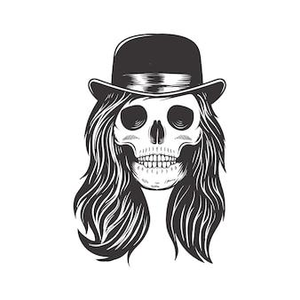 Design de logotipo de crânio de menina