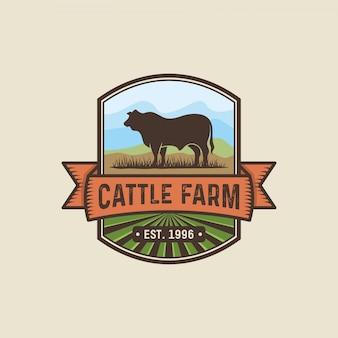 Design de logotipo de criação de gado