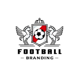 Design de logotipo de crista de cavalos alados de futebol