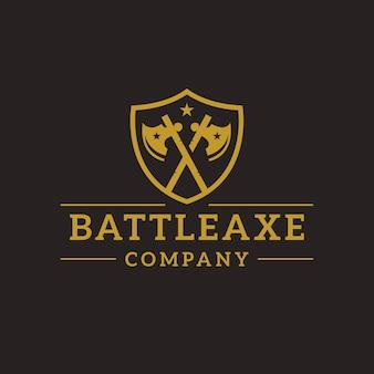 Design de logotipo de crista de machado de batalha
