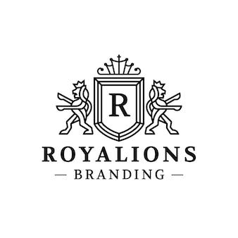 Design de logotipo de crista real de leões