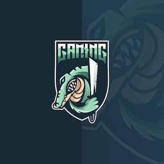 Design de logotipo de crocodilo e esporte mascote