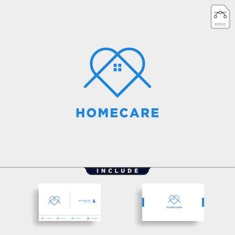 Design de logotipo de cuidados de amor em casa e modelo de cartão