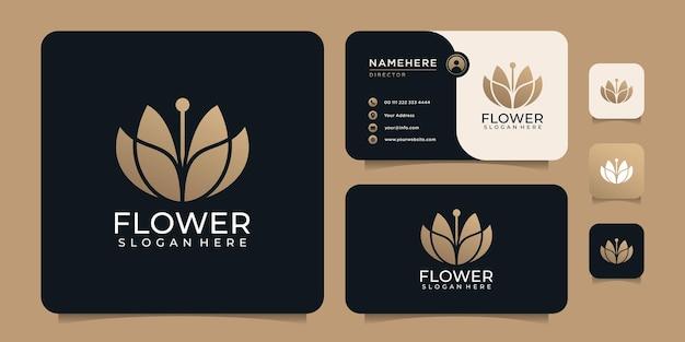 Design de logotipo de decoração de ioga de spa de flores com belo conceito