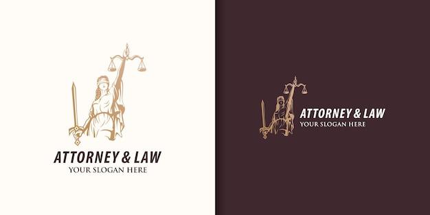 Design de logotipo de deusa da justiça, advogado e lei