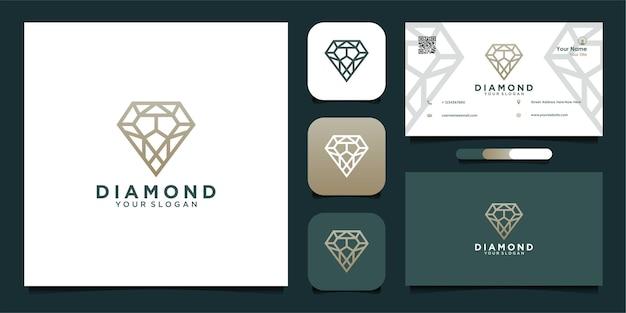 Design de logotipo de diamante com linha e cartão de visita premium vector