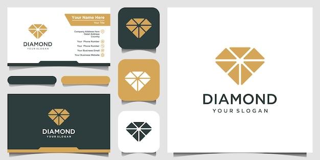 Design de logotipo de diamante e cartão de visita