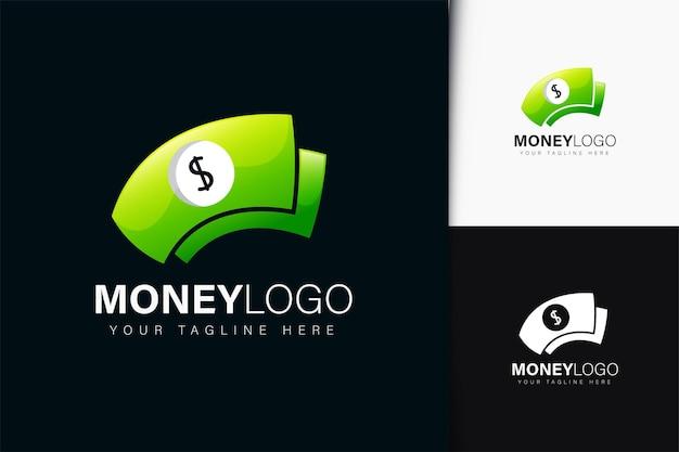 Design de logotipo de dinheiro com gradiente
