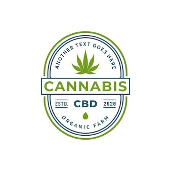 Design de logotipo de distintivo de óleo de cannabis ou cbd