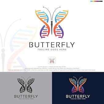 Design de logotipo de dna colorido de borboleta