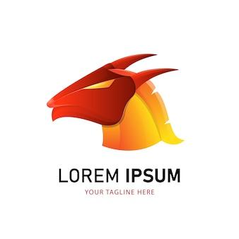 Design de logotipo de dragão colorido. modelo de logotipo de estilo gradiente