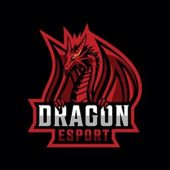 Design de logotipo de dragão para esporte de jogos
