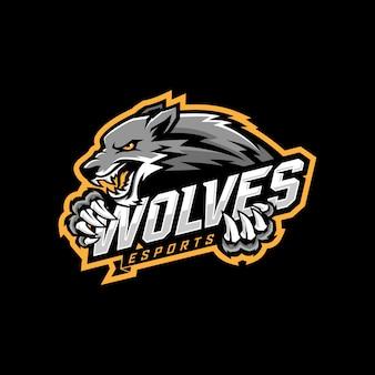 Design de logotipo de e-sports de lobo