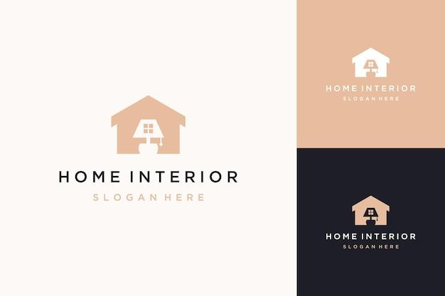Design de logotipo de edifícios e interiores ou casas com luzes