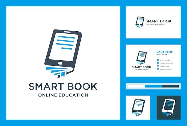 Design de logotipo de educação com modelo de cartão. identidade escolar em casa. ícone corporativo do curso online.