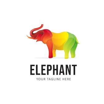 Design de logotipo de elefante colorido
