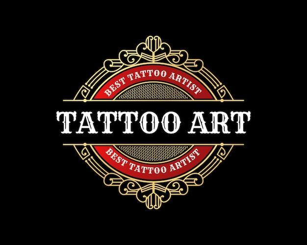 Design de logotipo de emblema de estúdio de tatuagem vintage de luxo com moldura decorativa floreada