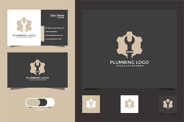 Design de logotipo de encanamento de serviço com cartões de visita
