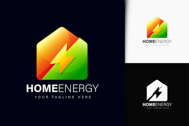 Design de logotipo de energia para casa com gradiente