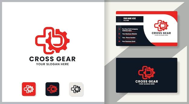 Design de logotipo de engrenagem cruzada, design de inspiração para terapia e medicina