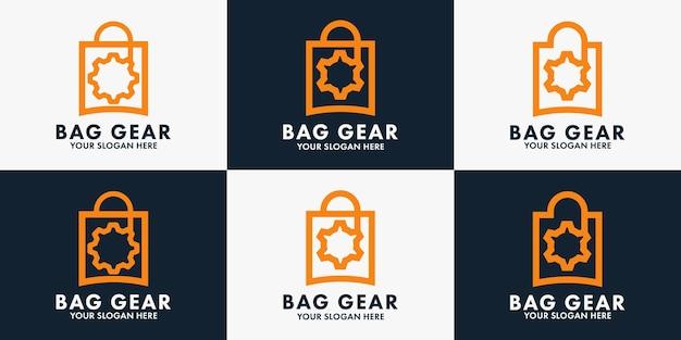 Design de logotipo de engrenagem de bolsa, logotipo de inspiração para oficina, loja de peças automotivas e outra loja
