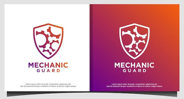 Design de logotipo de engrenagens e escudo da máquina