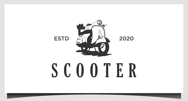 Design de logotipo de entrega clássico de scooter
