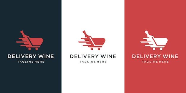 Design de logotipo de entrega de vinho com inspiração