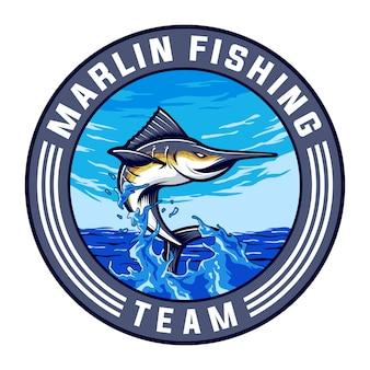 Design de logotipo de equipe de esporte marlin