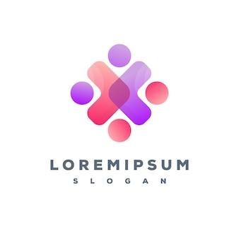 Design de logotipo de equipe de pessoas